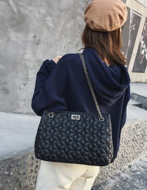 Fashion Black Flower Pattern Decorated Pure Color Bag