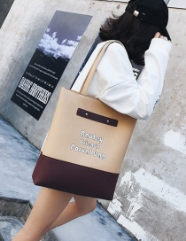 Fashion Beige+dark Red Color-matching Decorated Bag(2pcs)