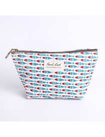 Fashion Blue Fish Pattern Decorated Storage Bag