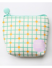 Fashion Green Grids Pattern Decorated Coin Purse