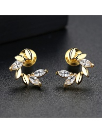 Fashion Gold Color Diamond Decorated Earrings