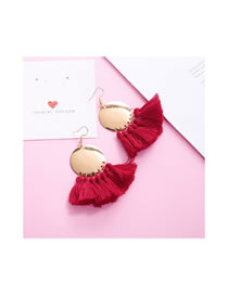 Elegant Calret Red Round Shape Decorated Tassel Earrings