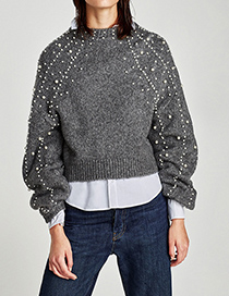 Fashion Gray Full Pearl Decorated Round Neckline Sweater
