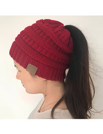 Fashion Claret Red Stripe Pattern Decorated Pure Color Hat