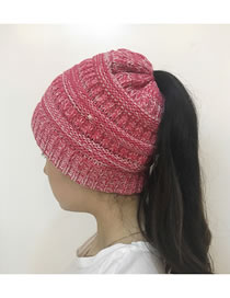 Fashion Plum Red Stripe Pattern Decorated Hat