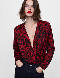 Fashion Red+black V Neckline Design Leopard Pattern Jumpsuit