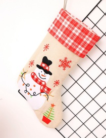 Fashion Red+beige Snowman Pattern Decorated Christmas Sock