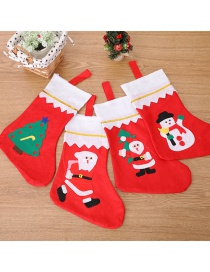 Fashion Random Santa Claus Pattern Decorated Christmas Sock