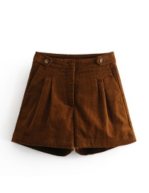 Fashion Brown Pure Color Decorated Short Pants