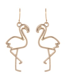Fashion Gold Color Flamingo Shape Design Earrings