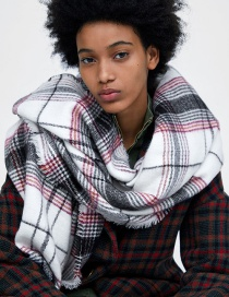 Fashion Black+white Grids Pattern Decorated Scarf