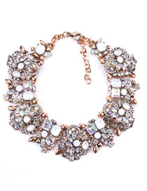 Fashion White Full Diamond Decorated Necklace