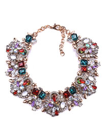 Fashion Multi-color Full Diamond Decorated Necklace