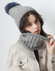 Fashion Gray Pure Color Decorated Scarf&hat (2 Pcs)