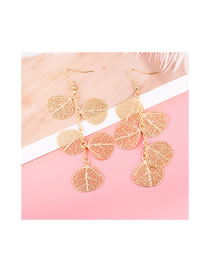 Simple Gold Color Leaf Shape Decorated Earrings