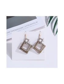 Fashion Gray Square Shape Decorated Earrings