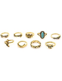 Simple Gold Color Elephant Shape Decorated Ring (9 Pcs )