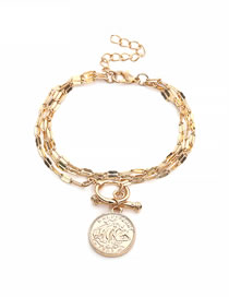 Fashion Gold Color Round Coins Shape Decorated Bracelet