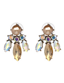 Fashion Champagne Diamond Decorated Earrings