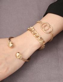 Simple Gold Color Round Shape Decorated Bracelet (3 Pcs )