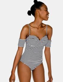 Sexy Black+white Stripe Pattern Decorated Swimwear
