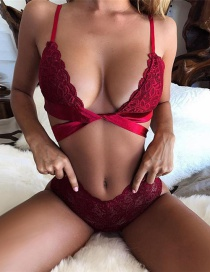 Sexy Red Pure Color Decorated Bra