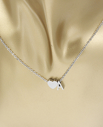 Simple Silver Color Letter A&heart Shape Decorated Necklace