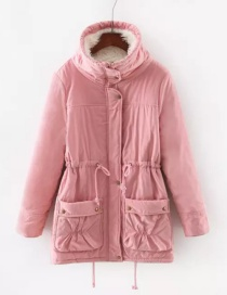 Fashion Pink Pure Color Design Cotton-padded Clothes