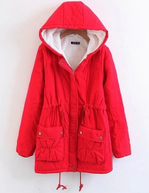 Fashion Red Drawstring Design Cotton-padded Clothes