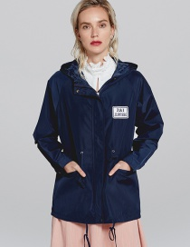 Fashion Navy Badge Pattern Decorated Pure Color Windbreaker