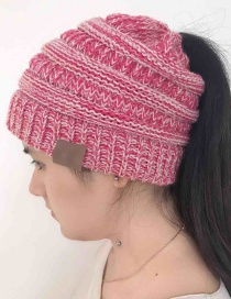 Fashion Plum Red Label Decoratedpure Color Knitted Hat