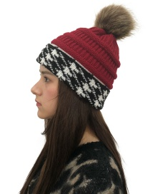Fashion Red Fuzzy Ball Decorated Knitted Hat