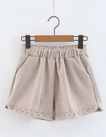 Fashion Khaki Rivets Decorated Pure Color Shorts