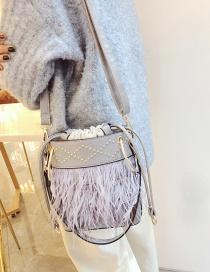 Fashion Gray Tassel Decorated Bag