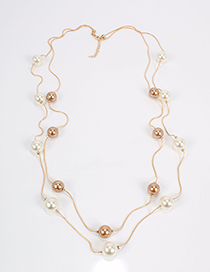 Fashion Gold Color Full Pearl Decorated Necklace