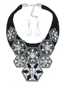 Fashion Black Geometric Shape Decorated Jewelry Set