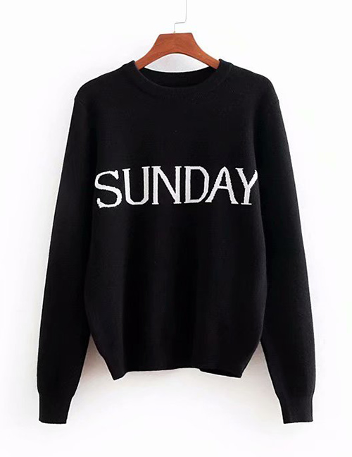 Fashion White Letter Pattern Decorated Sweater