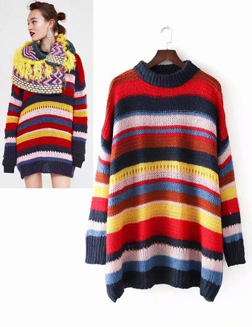 Fashion Multi-color Stripe Pattern Decorated Sweater