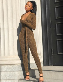 Fashion Gold Color V Neckline Design Jumpsuit