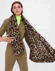 Fashion Brown Leopard Pattern Decorated Scarf