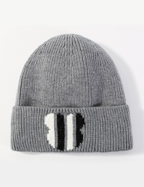 Fashion Gray Stripe Pattern Decorated Hat