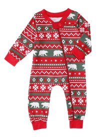 Fashion Red Bear Pattern Decorated Pajamas For Baby