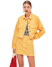 Fashion Yellow Pure Color Decorated Coat (2 Pcs )