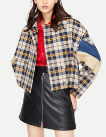 Fashion Multi-color Grid Pattern Decorated Long Sleeves Coat
