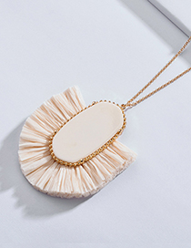 Elegant White Geometric Shape Design Long Necklace