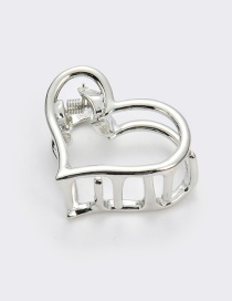 Elegant Silver Color Heart Shape Design Hollow Out Hair Claw(small)
