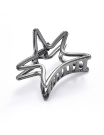 Elegant Black Hollow Out Design Star Shape Hair Claw (small)