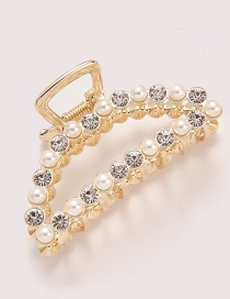 Elegant Gold Color Full Diamond&pearl Decorated Hair Claw