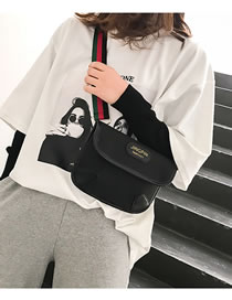 Fashion Black Letter Pattern Decorated Pure Color Bag