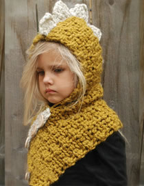 Lovely Yellow Dinosaur Shape Design Child Knitted Hat